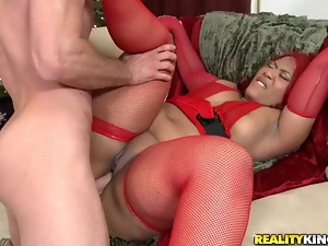 Christmas BBW Interracial Sex with Sex Stockings