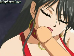 Tied up anime cutie gets her cunt licked