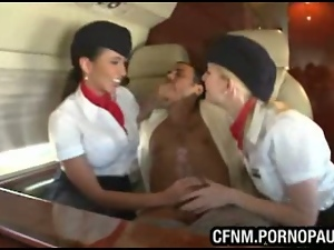 Guy fucks air stewardess on plane