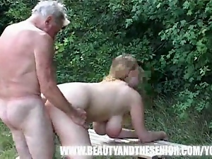 Extreme busty chick gets fucked by an old man