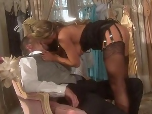 Blonde fucked in store