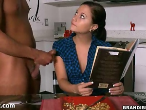 Sexy brunette in black stockings gets fucked in shaved pussy