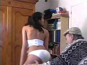 Old fart gets fucked by a beautiful woman