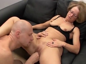 Feeding Mature Whores with Glasses Cocks