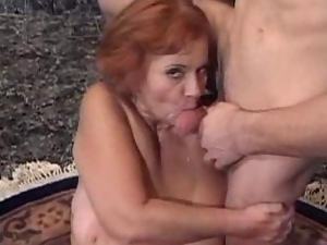 Hairy Granny with Big Tits Gets A Big Time Boning