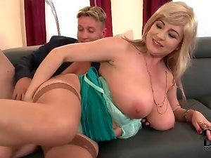 Voluptuous blonde in lingerie laid by cock