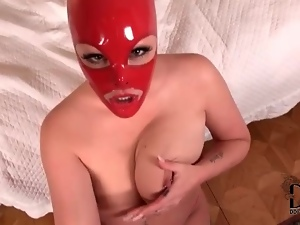 Babe in red latex mask gives POV handjob