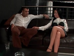 Sexy feet of the girl in satin teases him