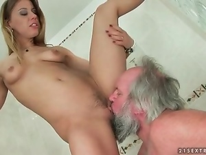 Old man licks dominant young pussy in shower