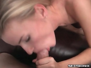 Skinny girl is on her knees to suck a dick