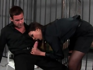 Prison blown by a hot girl in heels and stockings