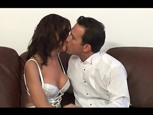 Kissing and licking classy girl in sexy dress