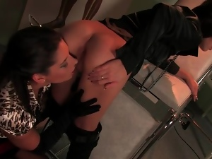Gloves and blouse on babe fucking pussy with toy