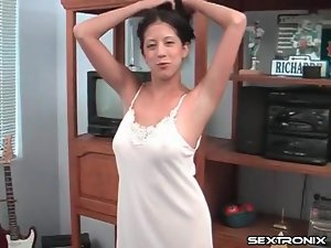 Cute nightgown on natural young lady sucking cock