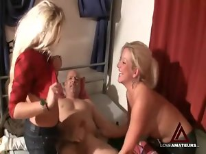 Girls suck out his cum and play with it