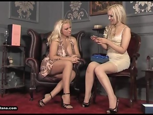Hot Milf Leggy Lana presents babe with glass dildo for some hot lesbian action