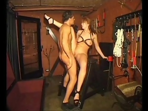 Fucking a shot shaved sub girl in his dungeon