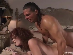 Wife with curly hair fucked in her sexy pussy