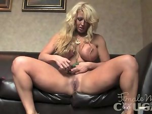 Muscular Blonde with Huge Tits Masturbates 2 of 2
