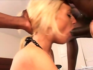 Gigantic black boner fucking a white slut