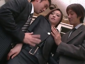 Sexy Japanese secretary in a threesome