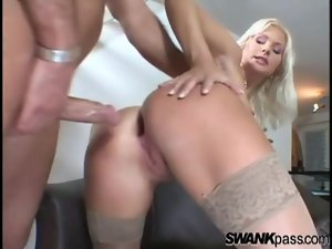 Cute blonde in tan stockings fucked in the ass