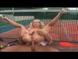 Anal sex on the tennis court with a blonde hottie