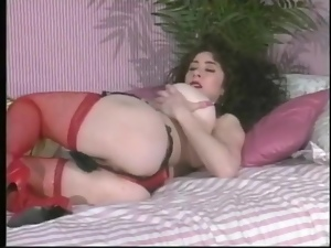 Solo porn from the 80s with a fake tits girl