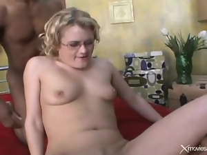 White nerd in glasses double penetrated