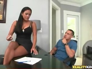 Busty office beauty pleasures his big cock