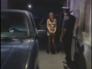 Police officer gets a blowjob from skinny girl