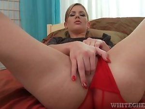 Red panties girl sucks dick and wants to fuck