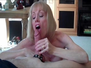Dirty talking mature gives his cock pleasure