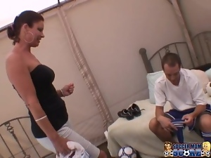 Dark-haired milf Vanessa Videl fucks a football player