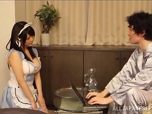 Busty Japanese maid Ai Hoshimiya gets fondled and fucked hard