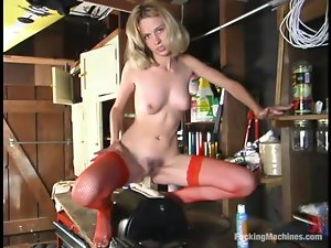 Slender Victoria rides big dildo fixed to a fucking machine