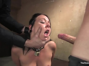 Julie Night gets brutally mouth-fucked in a stunning BDSM scene