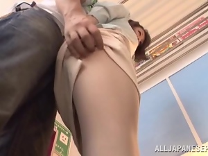 Japanese cutie gets her hairy cunt fucked hard and creampied