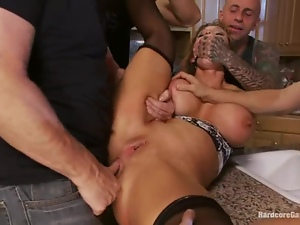 Superb Nikki Sexx gets pounded by horny guys in all rooms