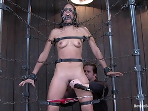 Hogtie with chains around Lyla Storm's hot body