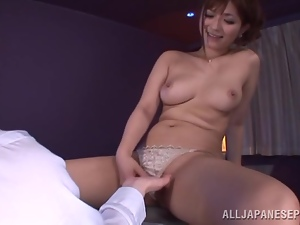 Satou Haruka asks her BF to lick her tits before she gives him a blowjob