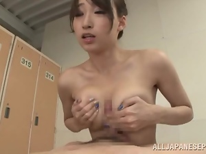 Hot passion in the locker room with Claire Hasumi