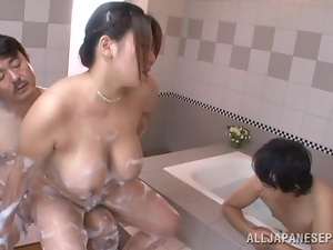 Fat Japanese bitch is being drilled in a wet MMF