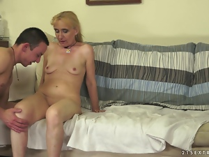 Slutty blonde granny has wild sex with younger guy
