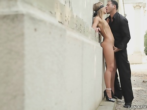 Blindfolded blonde babe gets fucked in the street