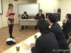 Filthy Japanese office manager sucks a cock at the staff meeting
