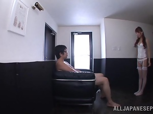 Sexy Japanese  in stockings is about to drool with his cum