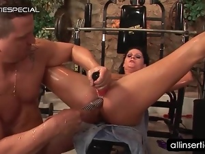 Naked oily tramp rides dick and gets butt dildoed