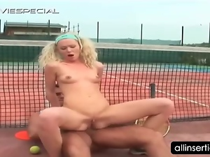 Hardcore anal sex on tennis field with hot blonde