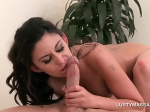 Brunette beauty pussy pounded by sexy masseur